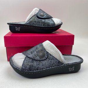 New ALEGRIA leather Printed Slide Sandals KYLEE